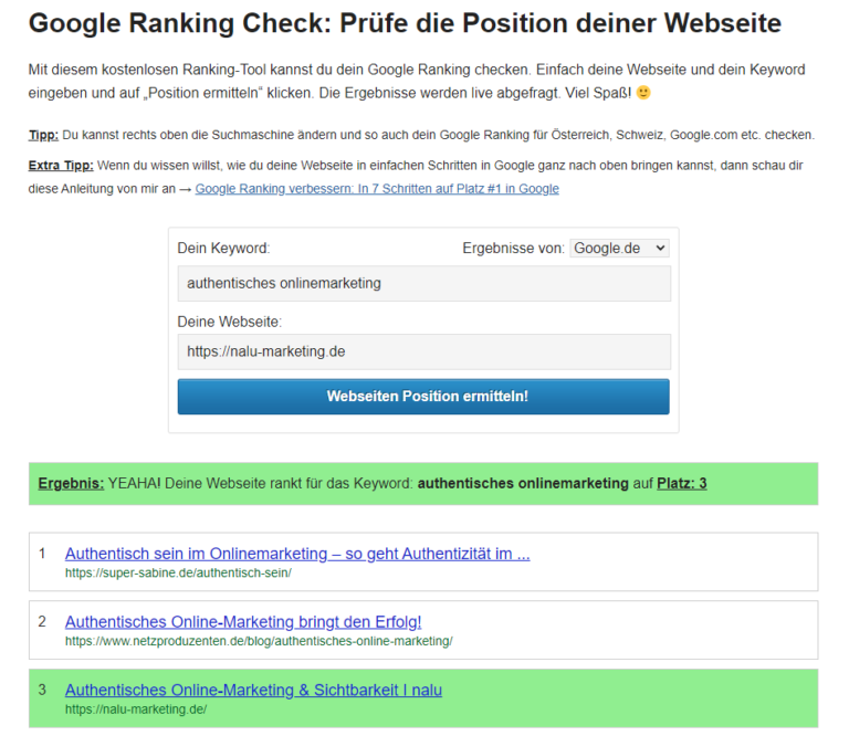 Google Ranking Check Beispiel nalu marketing